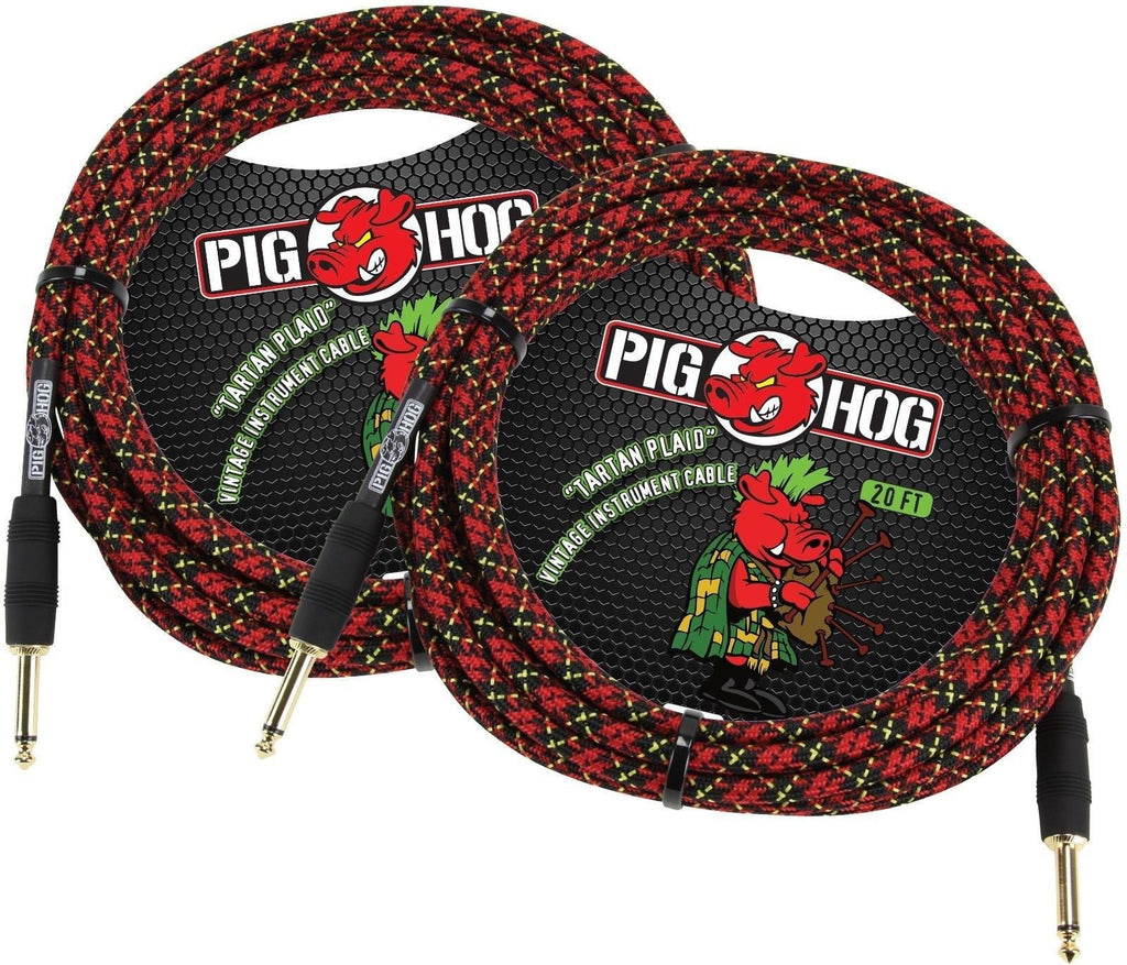 "Pig Hog ""Tartan Plaid"" Instrument Cable, 20ft - 2 Pack"