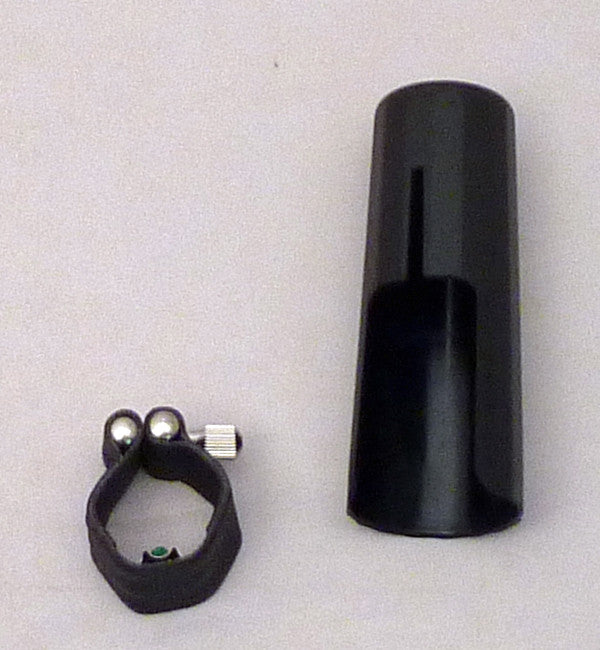 Black Leather Saxophone Ligature And Cap For Tenor Saxophone