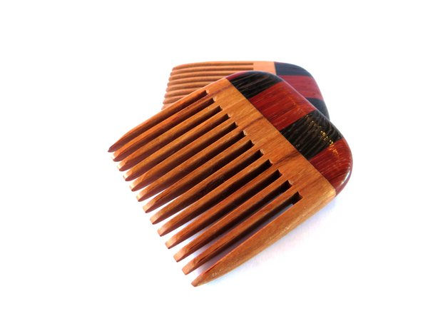 "Handmade wooden beard comb. Solid cherry base, 1/8"" gap between teeth. Grip of wenge and padauk.   About 2 1/2"" x 2 7/8."""