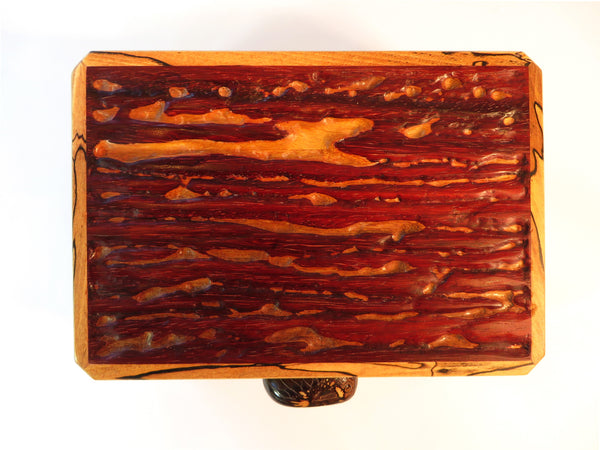 Cover of handmade exotic wood box with tagua nut handle
