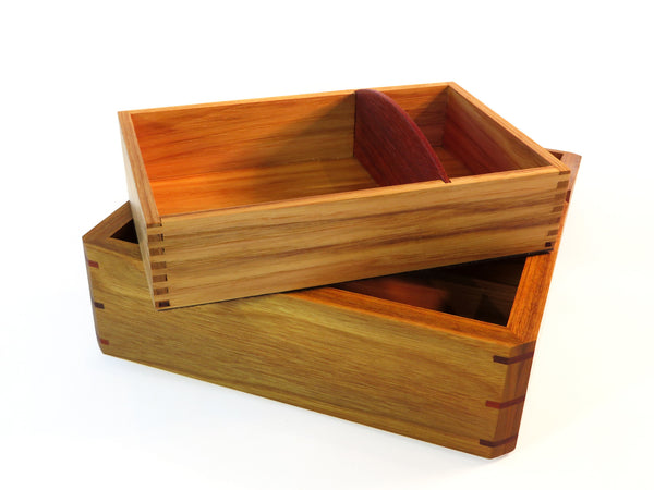 Removable inset in handmade exotic wood box with tagua nut handle