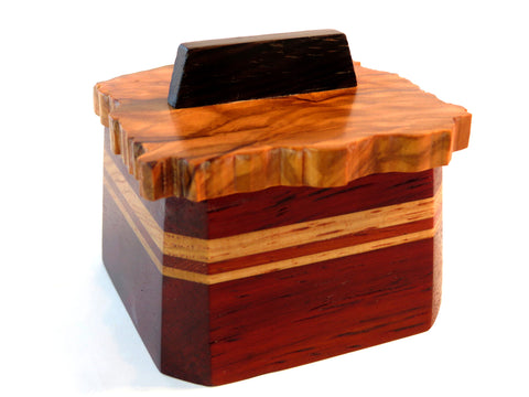 Handmade exotic wood box with olivewood lid