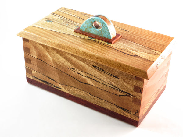 "One-of-a-kind handmade wooden box of spalted beech and padauk, with crushed turquoise accents. Faux turquoise and wood handle. About 8 3/8"" x 4 3/4"" x 4""H"