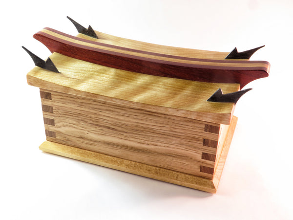 "One-of-a-kind handmade wooden box with echos of Far East. Curly maple, hickory, padauk, and wenge. About 9 1/4"" x 6 1/2"" x 5 1/4"""