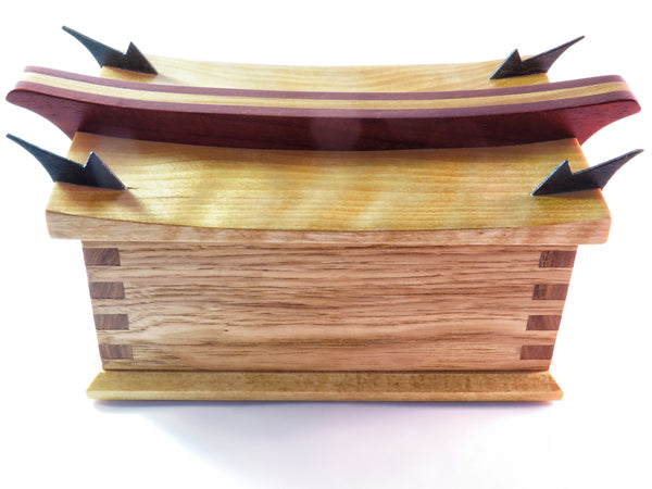 "One-of-a-kind handmade wooden box with echos of Far East. Curly maple, hickory, padauk, and wenge. About 9 1/4"" x 6 1/2"" x 5 1/4."""