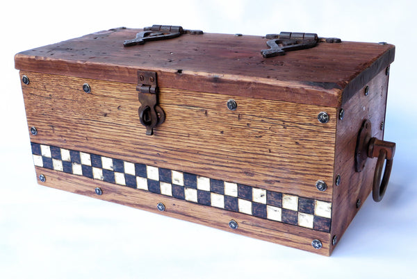 A one-of-a-kind handmade wooden box modeled after those pioneers took for the journey west. Handstained and distressed classic American woods, handpainted checkerboard, antiqued hardware. Contact us to custom order.