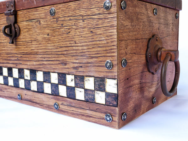 A one-of-a-kind handmade wooden box modeled after those pioneers took for the journey west. Handstained and distressed classic American woods, handpainted checkerboard, antiqued hardware.