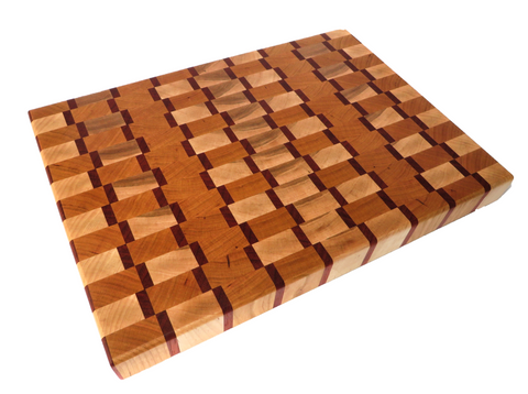 "Epic handmade endgrain wooden cutting board for your Thanksgiving turkey. Hard maple, cherry, padauk. Elegant notched handles for easy lifting. About 16"" x 11 1/2"" x  1 3/4"""