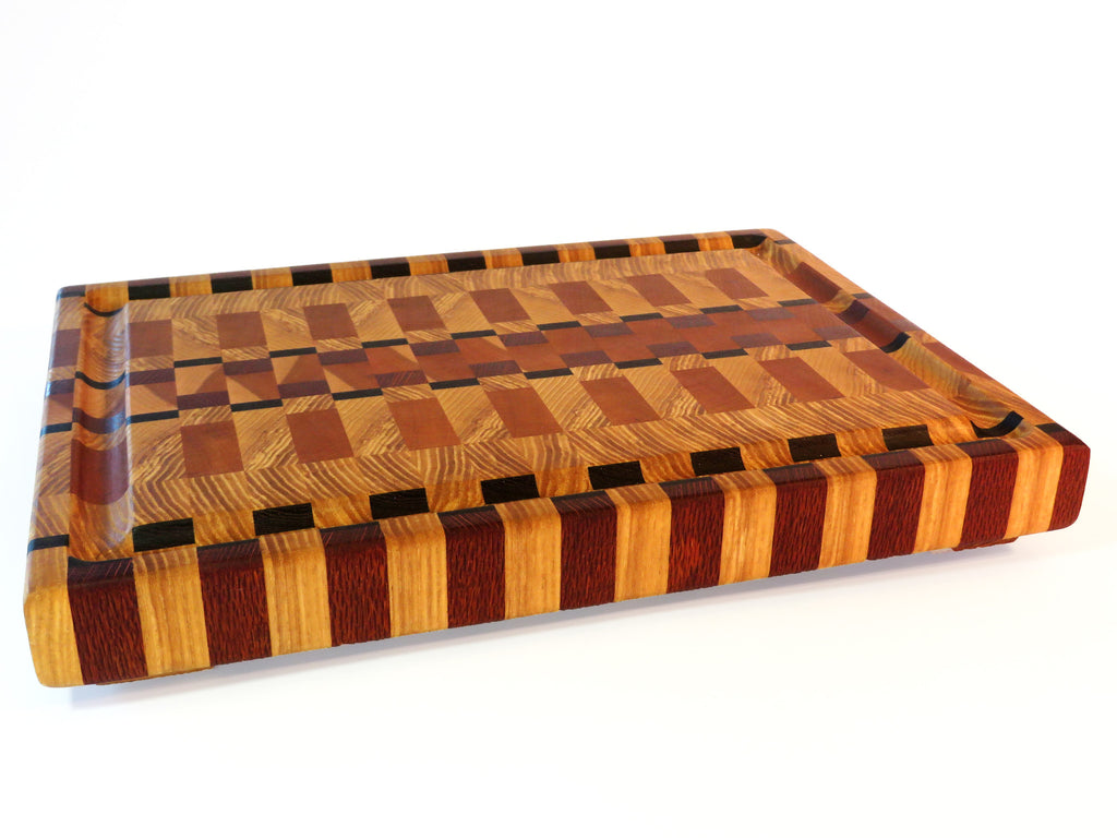 exotic wood endgrain cutting board with gutter