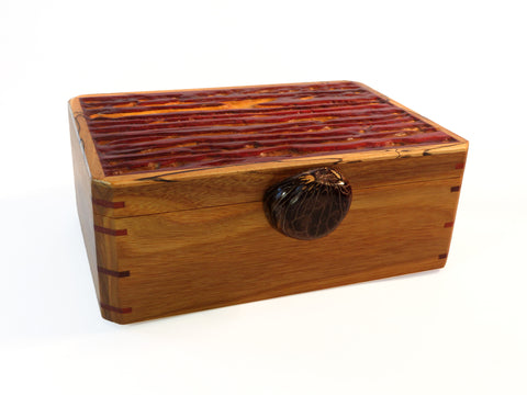 handmade exotic wood box with tagua nut handle