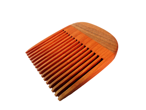 "Handmade wooden beard comb.Solid cherry base with 1/8"" gap between teeth. Solid maple grip. About 3 1/4"" x 2 3/4."""