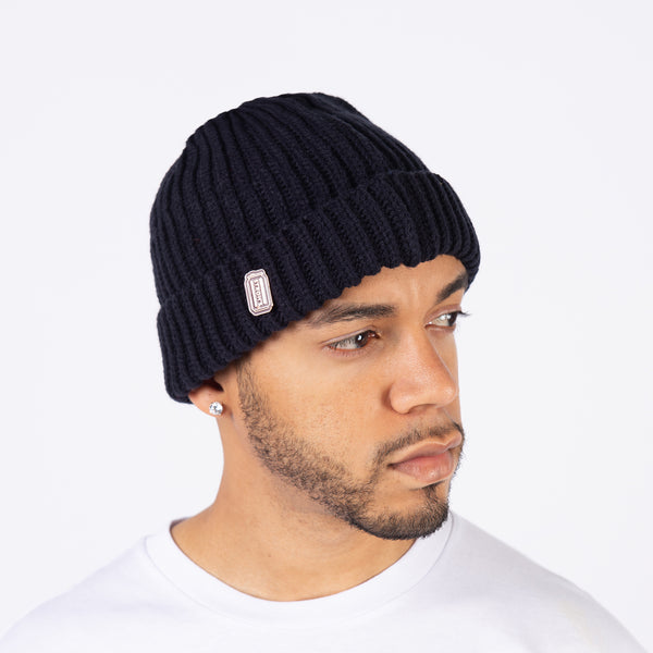 STROHS CAN BEANIE W/ ENAMEL PIN-NAVY