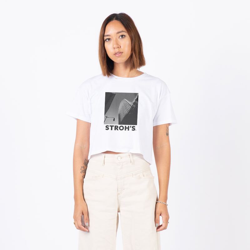 WOMEN'S HIGH RISE CROP TEE - White