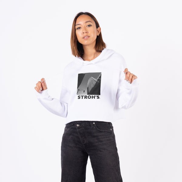 WOMEN'S HIGH RISE CROP HOODIE - WHITE