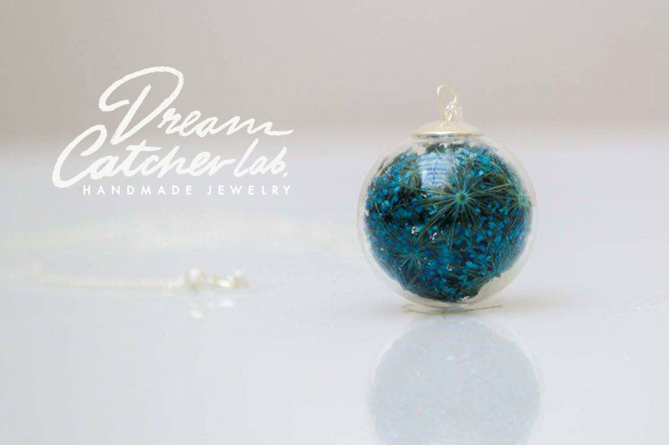 Necklace Turquoise Anne's Lace Flower in Handblown Glass Orb and 925 Sterling Silver