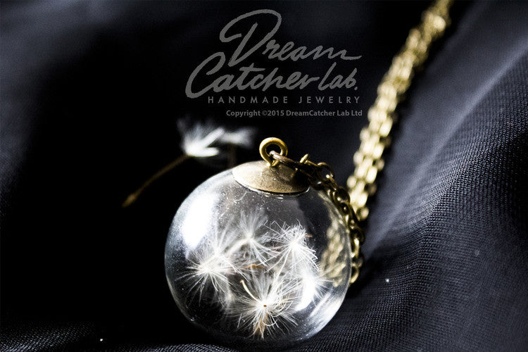 Necklace Dandelion Flower Seeds in Glass Orb and Antique Brass