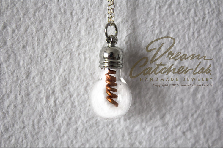 glass orb lighting. necklace light bulb in handblown glass orb and 925 sterling silver lighting l