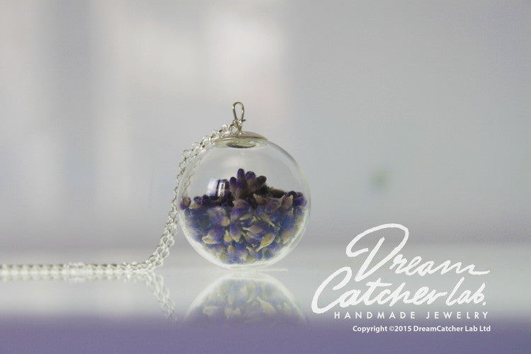 Necklace Eco Chic Real Lavender Flowers in Handblown Glass orb and 925 Sterling Silver