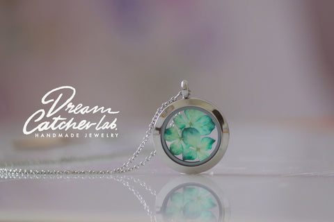 Necklace Eco Chic Turquoise Hydrangea Flower Glass Locket