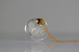 Necklace Dandelion Flower Seeds in Glass Orb and 14k Gold