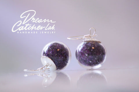 Earrings Purple Anne's Lace Flower in Handblown Glass Orb and 925 Sterling Silver
