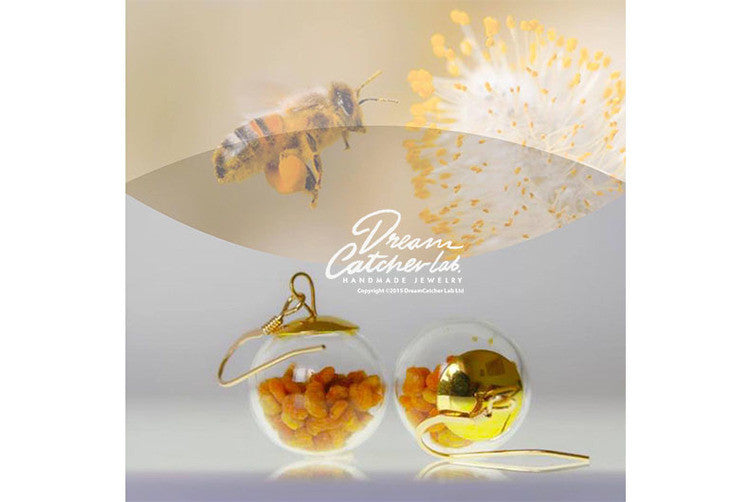 Earrings Eco-Chic Real Pollen Grains in Handblown Glass Orb and 14k Gold