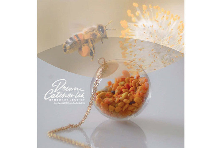 Necklace EcoChic Real Pollen Grains in Handblown Glass Orb and 14k Gold