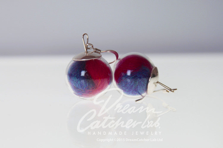 Earrings Eco-Chic Woolen Threads in Glass Orbs and 925 Sterling Silver