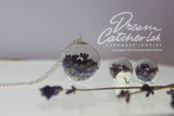 Jewelry Set Necklace and Earrings Real Lavender Flowers in Glass Orb and 925 Sterling Silver