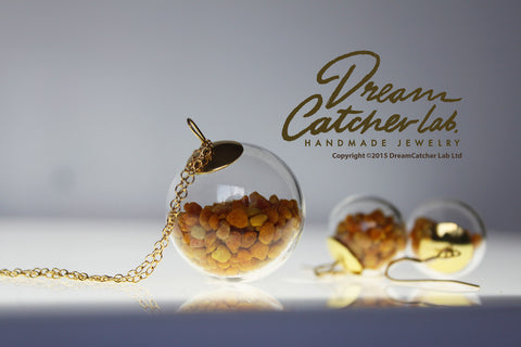 Jewelry Set Necklace and Earrings Eco-Chic Real Pollen Grains in Handblown Glass Orb and 14k Gold