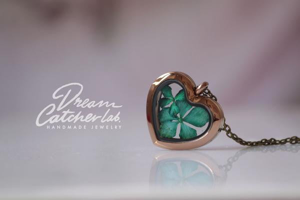 Hydrangea With Love Locket - glass & coffee stainless steel