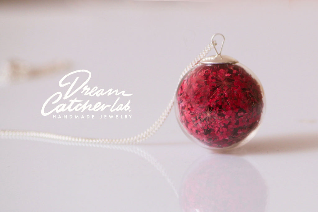 Necklace Red Anne's Lace Flower in Handblown Glass Orb and 925 Sterling Silver