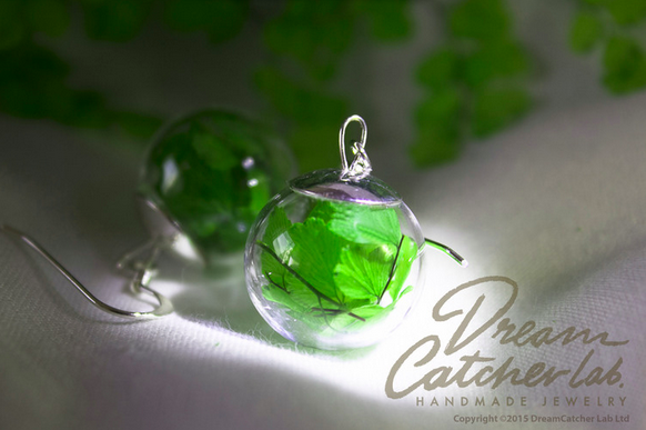 Earrings Venus Hair Real Fern Leaves in Glass Orb and 925 Sterling Silver