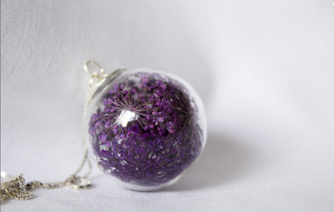 Necklace Purple Anne's Lace Flower in Handblown Glass Orb and 925 Sterling Silver