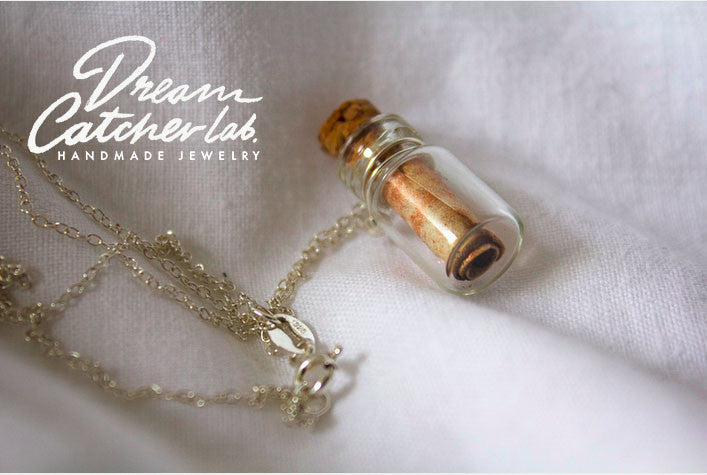 Necklace Message in a Bottle Eco Chic in 925 Sterling Silver