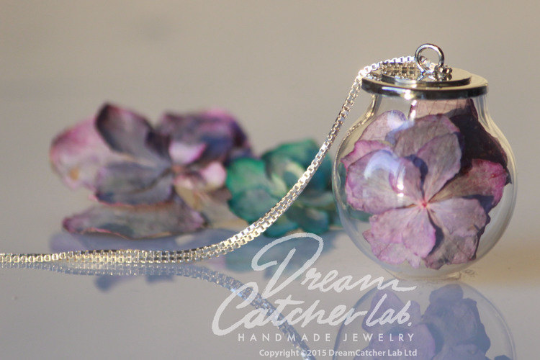 Necklace Litmus Hydrangea Flowers In Handblown Glass Orb and 925 Sterling Silver