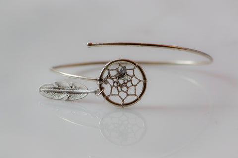 DreamCatcher Bangle Comet in Sterling Silver Minimal Chic Native American with Star Dust