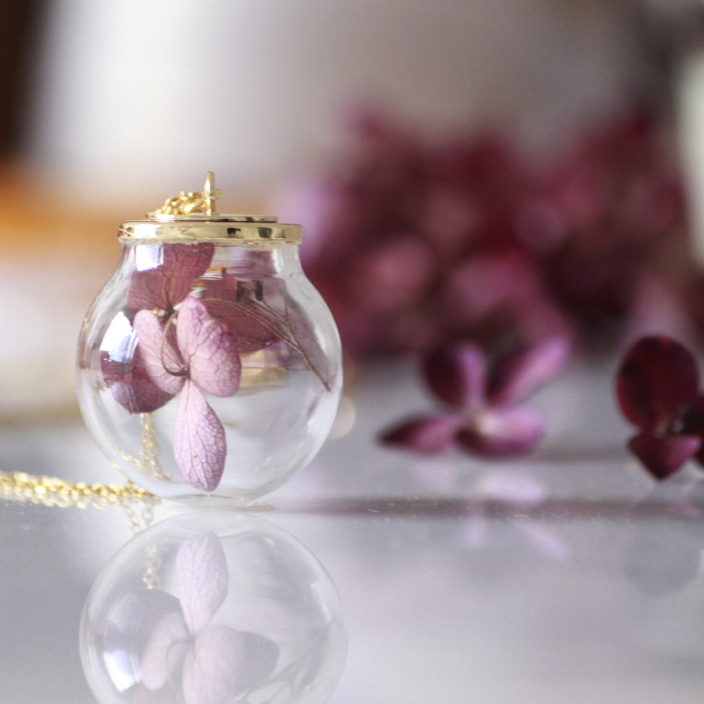 Necklace Vintage Red Hydrangea Flowers In Handblown Glass Orb and Golden Antique Brass