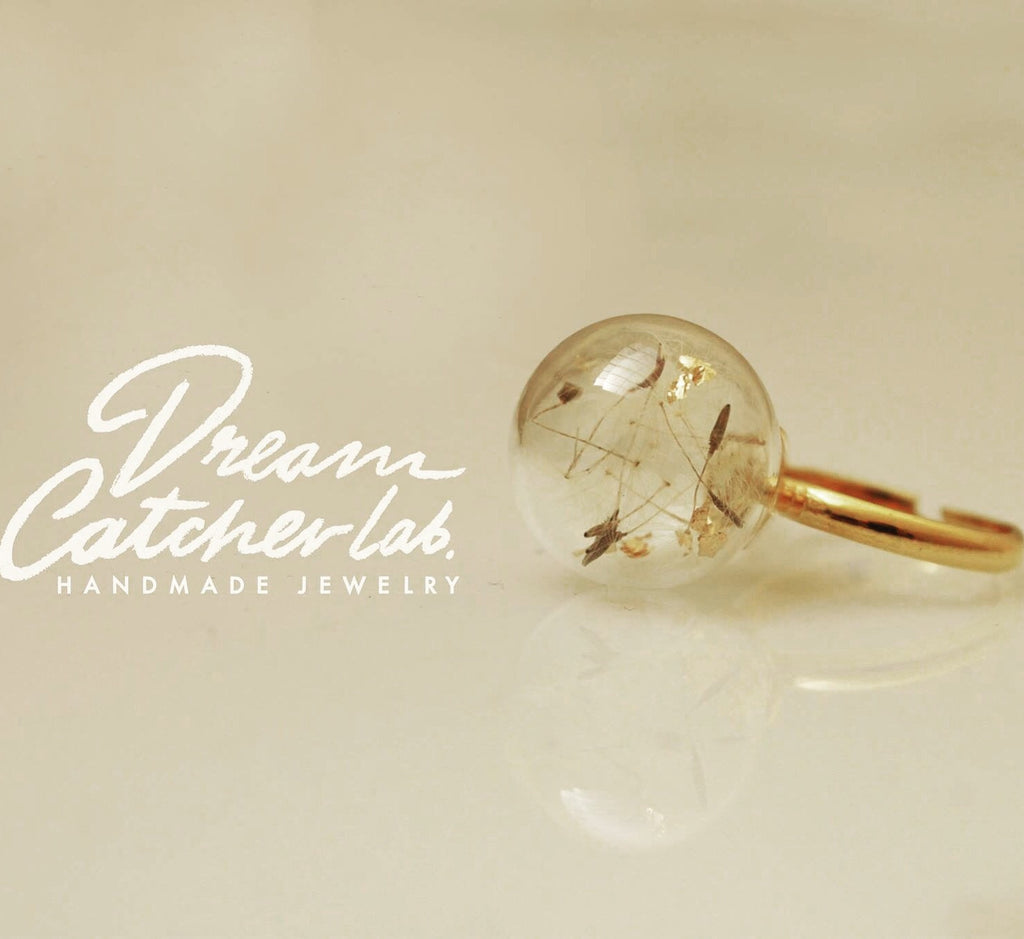 Ring Dandelion Flower Seeds in Handmade Glass Orb and Golden Plated Brass