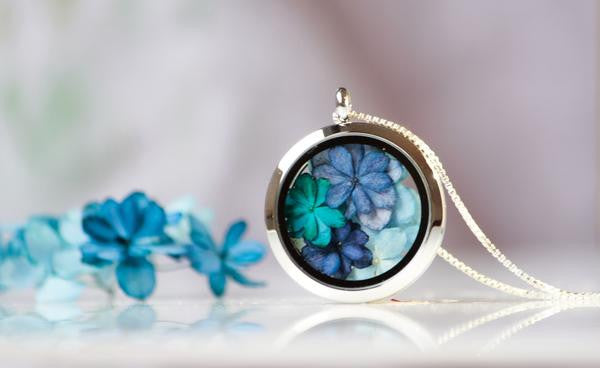 Shades of blue Hydrangea Locket - glass & stainless steel