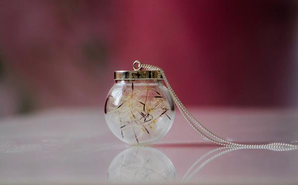 Necklace Dandelion large bulb - Glass & silver