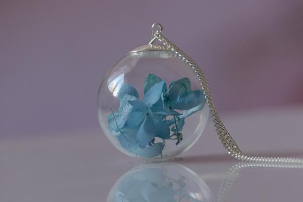 Sky Blue Hydrangea Necklace - glass and silver