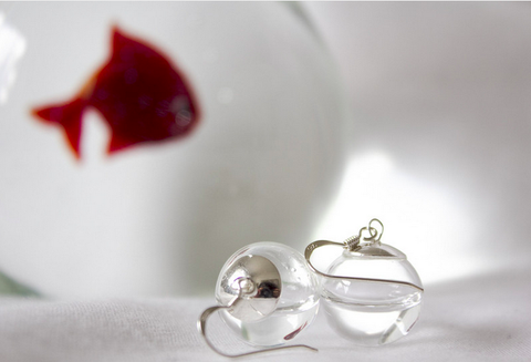 Earrings Elixir of Life Real Water in Glass Orbs and 925 Sterling Silver