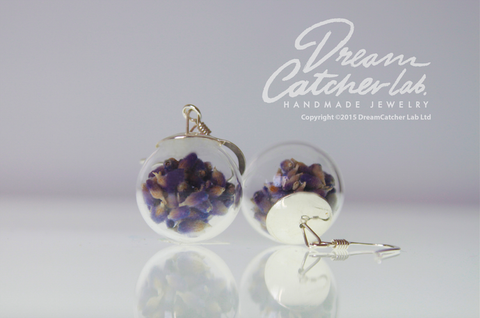 Earrings Real Lavender Flowers in Glass Orb and 925 Sterling Silver