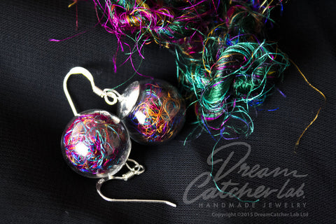 Earrings Colored Raw Silk Threads in Glass Orb and 925 Sterling Silver