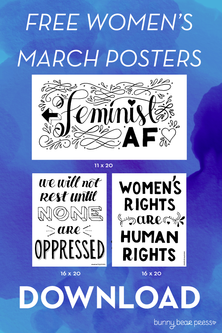 graphic about Printable Women's March Signs known as Down load No cost Posters for the Womens March - Bunny Go through Force