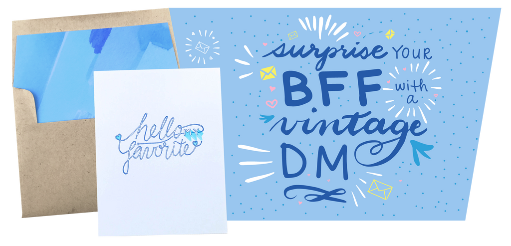 """Send your BFF a Vintage DM"" Lettering Image"