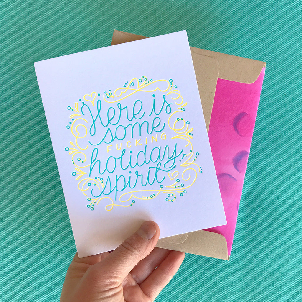Here is Some Holiday spirit Letterpress greeting card by bunny bear press