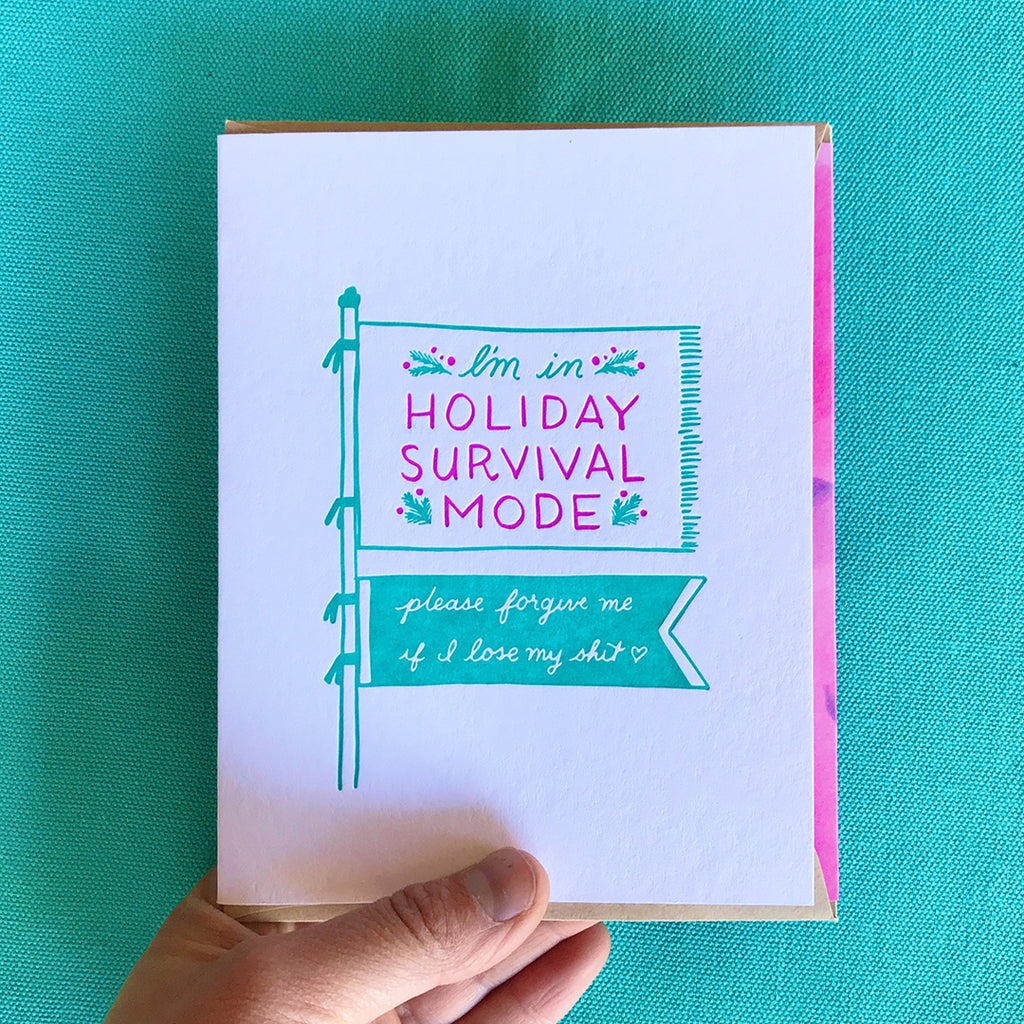 Holiday Survival Mode Christmas Letterpress greeting card by bunny bear press