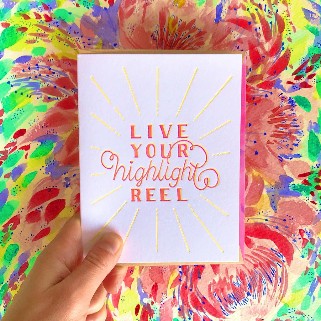live your high light reel letterpress card by bunny bear press